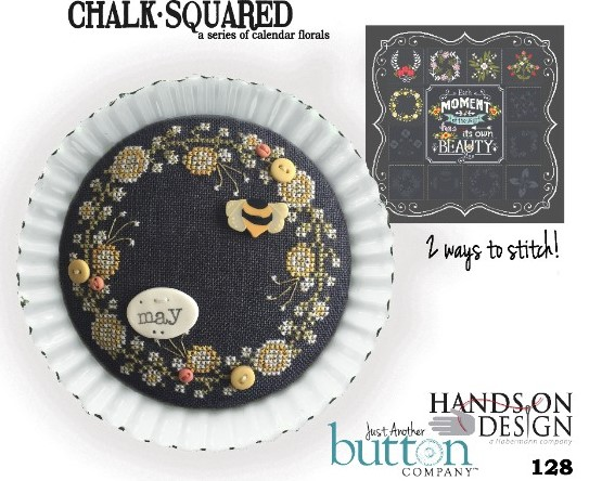 Hands On Design & Just Another Button Co - Chalk Squared #05 May-Hands On Design  Just Another Button Co - Chalk Squared 05 May, flowers, calendar, chalk series, cross stitch