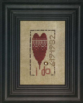 Heart in Hand Needleart - I Do-Heart in Hand Needleart - I Do, wedding, sampler, announcement, love, marriage, cross stitch
