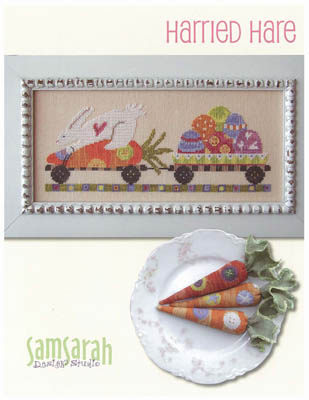 SamSarah Design Studio - Harried Hare-SamSarah Design Studio - Harried Hare, bunny, Easter, carrots, Easter eggs, spring, cross stitch