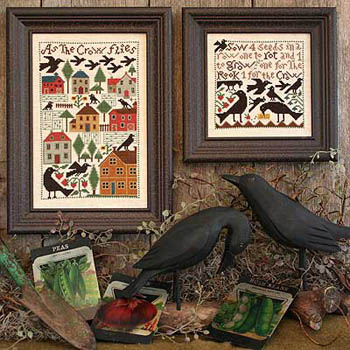 Prairie Schooler - As the Crow Flies-Prairie Schooler - As the Crow Flies, Fall, crows, birds, cross stitch