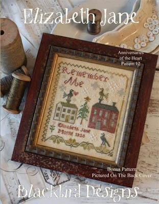 Blackbird Designs - Anniversaries of the Heart 12 - Elizabeth Jane-Blackbird Designs - Anniversaries of the Heart 12 - Elizabeth Jane, remember me, cross stitch