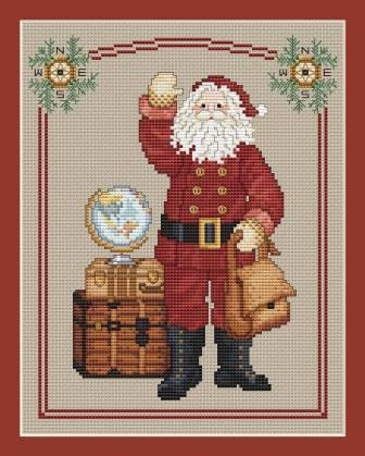 Sue Hillis Designs - Annual Santa - Traveling Santa 2015-Sue Hillis Designs - Annual Santa - Traveling Santa 2015, Christmas, Santa Claus,