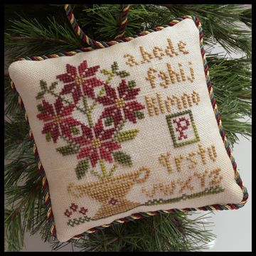 Little House Needleworks - The Sampler Tree - Part 08 - Potted Poinsettia-Little House Needleworks - The Sampler Tree, Potted Poinsettia, ornaments, Christmas tree, plants,