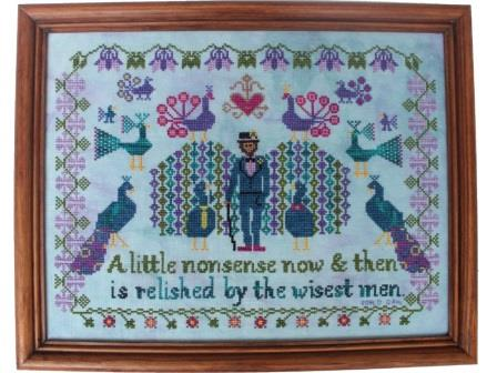 Lindy Stitches - The Peacock Keeper-Lindy Stitches - The Peacock Keeper, bird, peacock,  Roald Dahl, cross stitch