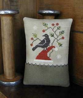 Threadwork Primitives - Kringle's Crow-Threadwork Primitives - Kringles Crow, Christmas, bird, country, decoration, cross stitch