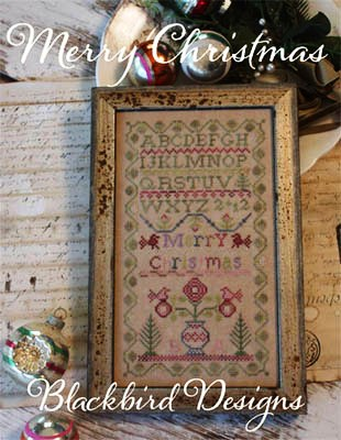 Blackbird Designs - Merry Christmas-Blackbird Designs - Merry Christmas, sampler, Christmas tree, flowers, cross stitch