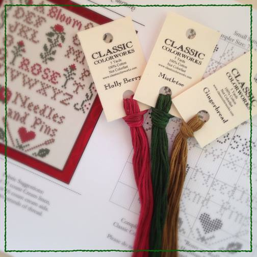 Classic Colorworks - Roses are Red - Thread Pack-Classic Colorworks - 2016 Nashville - Little House Needleworks - Roses Are Red Small Sampler  Needle Keep, Free Chart with Purchase, cross stitch