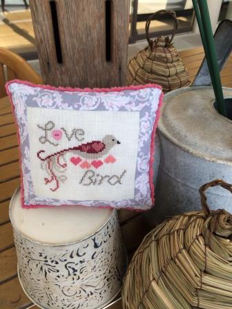 AnnaLee Waite Designs - Love Bird  (w/heart button)-AnnaLee Waite Designs - Love Bird, birds, heart, marriage, love, cross stitch