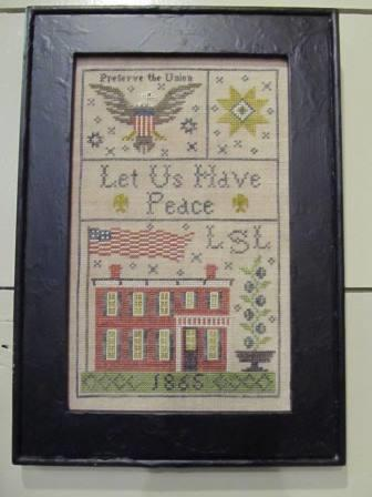 Chessie & Me - Grant House 1865 Sampler-Chessie  Me - Grant House 1865 Sampler, USA, Americana, patriotic, cross stitch, samplers,