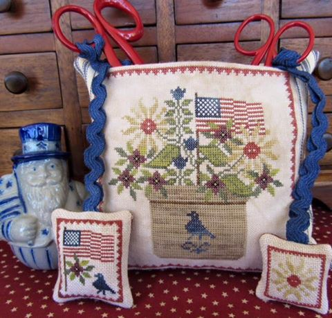 The Scarlett House - Patriotic Scissor Pocket-The Scarlett House - Patriotic Scissor Pocket, American, USA, accessories, scissors case, cross stitch