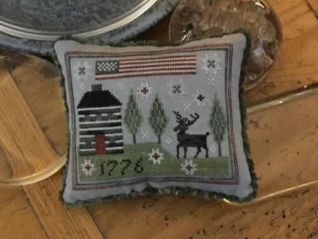 Chessie & Me - American Stag-Chessie  Me - American Stag, American flag, deer, pioneer house, primitive, cross stitch