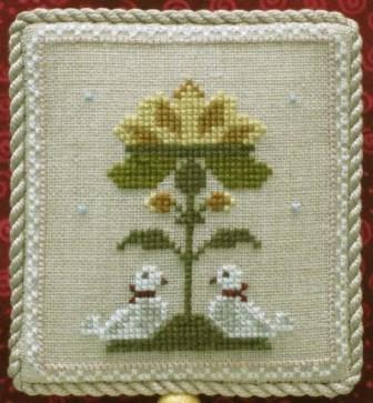 Historic Handworkes - The 12 Sampler Days of Christmas - Part 02 of 12 - Two Turtle Doves-Historic Handworkes - The 12 Sampler Days of Christmas, Two Turtle Doves, Christmas ornaments, birds, cross stitch