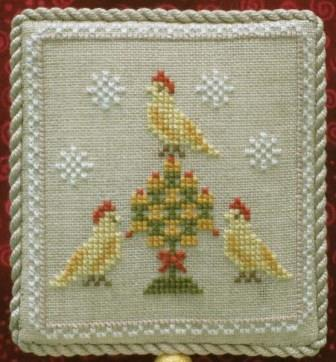 Historic Handworkes - The 12 Sampler Days of Christmas - Part 03 of 12 - Three French Hens-Historic Handworkes - The 12 Sampler Days of Christmas, Three French Hens, Christmas, ornaments, birds, cross stitch