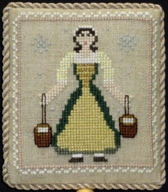 Historic Handworkes - The 12 Sampler Days of Christmas - Part 08 of 12 - Eight Maids A Milking-Historic Handworkes - The 12 Sampler Days of Christmas, Eight Maids A Milking, Christmas, ornament, cross stitch