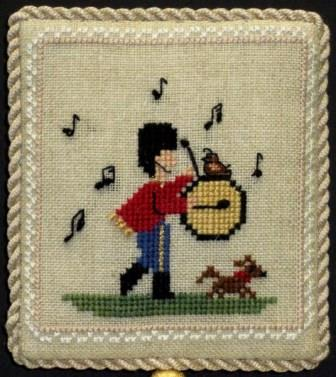 Historic Handworkes - The 12 Sampler Days of Christmas - Part 12 of 12 - Twelve Drummers Drumming-Historic Handworkes - The 12 Sampler Days of Christmas, Twelve Drummers Drumming, Christmas, ornament, cross stitch