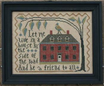 La-D-Da - Big Red House-La-D-Da - Big Red House, home, friend, tree, neighborhood,primitive, cross stitch