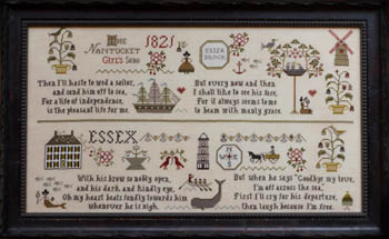 Plum Street Samplers - Nantucket Girl's Sampler-Plum Street Samplers - Nantucket Girls Sampler, whale, husband, independence, marriage, cross stitch