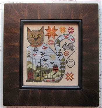 Kathy Barrick - Cat and Mouse-Kathy Barrick - Cat and Mouse, kitty, quaker star, mouse, farm, house, willow tree, cross stitch
