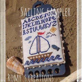 Romy's Creations - Sailing Sampler Kit-Romys Creations - Sailing Sampler Kit, wood thread keep, fish button, beach, ocean, sunshine, sailboat, waves, fish, cross stitch