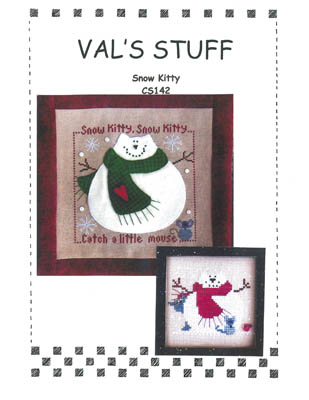 Val's Stuff - Snow Kitty-Vals Stuff, Snow Kitty, cats, snow, mouse, applique,  Cross Stitch Pattern