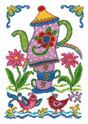 Imaginating - Summer Birdhouse-Imaginating, Summer Birdhouse, tea pots, birds, flowers, tea cups, tea, Cross Stitch Chart
