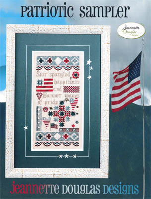 Jeannette Douglas Designs - Patriotic Sampler - Cross Stitch Pattern-Jeannette Douglas Designs, Patriotic Sampler, USA, American, American flag, Cross Stitch Pattern