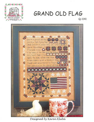 Rosewood Manor - Grand Old Flag - Cross Stitch Chart-Rosewood Manor, Grand Old Flag, USA, American Flag, patriotic, sampler, re, white & blue,  Cross Stitch Chart