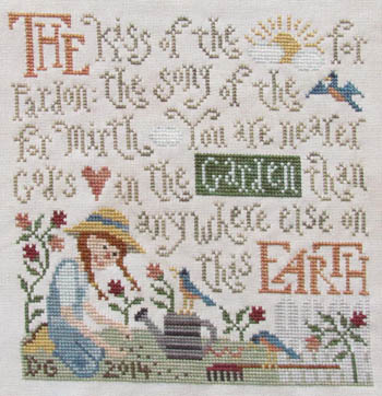 Silver Creek Samplers - Garden Bliss-Silver Creek Samplers, Garden Bliss, gardening, flowers, God, prayers, sun, birds, gardening tools, Cross Stitch Pattern