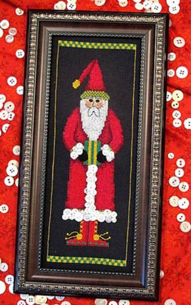 Bobbie G. Designs - Buttoned Up Santa - Cross Stitch Pattern