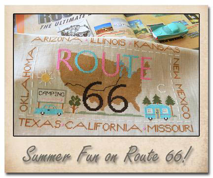 Little House Needleworks - Route 66-Little House Needleworks, Route 66, USA highway, traveling, car trip, road trip, driving, scenic route, Cross Stitch Pattern