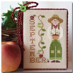 Little House Needleworks - Calendar Girls - Part 09 - September-Little House Needleworks, Calendar Girls, Part 9 of 12, September, cross stitch, months, school, reading, girl, apples,