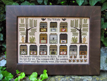 Kathy Barrick - The Village - Cross Stitch Pattern-Kathy Barrick, The Village, neighborhood, friends, trees, streets, houses, birds, Cross Stitch Pattern