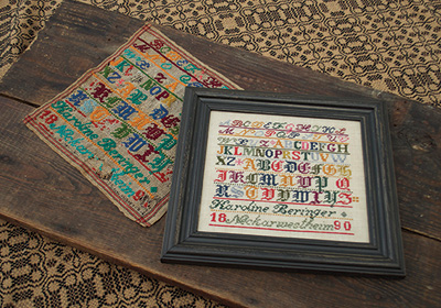 Summer House Stitche Workes - Karoline Beringer - Cross Stitch Pattern-Summer House Stitche Workes, Karoline Beringer, sampler, historic, young girl, sewing, alphabet, Cross Stitch Pattern