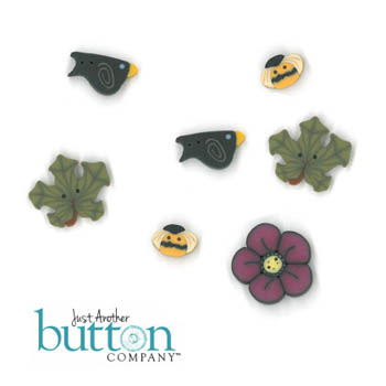 Just Another Button Company - Pumpkin Harvest Buttons for Shepherd's Bush-Pumpkin Harvest-Just Another Button Company, Pumpkin Harvest Buttons for Shepherds Bush-Pumpkin Harvest, buttons, fall, fall leaves, black crow, bees, flowers,