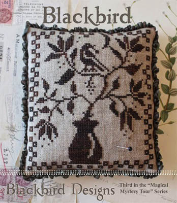 Blackbird Designs - Magical Mystery Tour Series - Blackbird-Blackbird Designs - Magical Mystery Tour Series - Blackbird, birds, pincushion, cross stitch