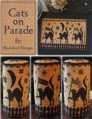 Blackbird Designs - Cats On Parade-Blackbird Designs - Cats On Parade, felines, Halloween, 3 cats, drum, cross stitch