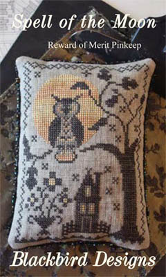 Blackbird Designs - Spell of the Moon - Reward of Merit Pinkeep-Blackbird Designs - Spell of the Moon - Reward of Merit Pinkeep, Spell of the Moon,  Halloween, owl, full moon, haunted house, Cross Stitch Pattern