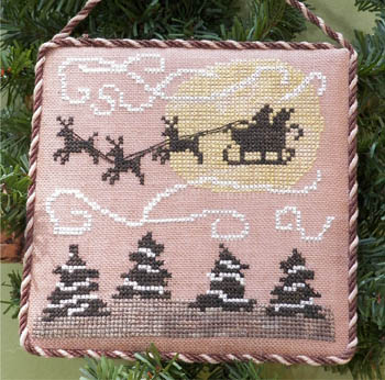 Dames of the Needle - Santa's Sleigh Ride-Dames of the Needle,  Santas Sleigh Ride, Santa Claus, Christmas Eve, Rudolph, reindeer,  Cross Stitch Pattern