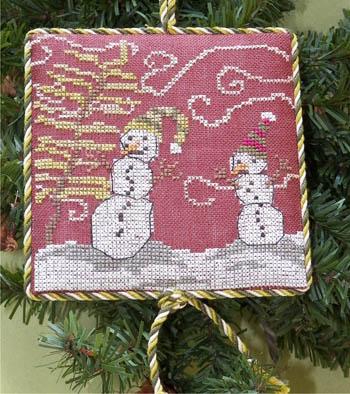 Dames of the Needle - Windy Night-Dames of the Needle, Windy Night, snowman, snow storm, swrily wind,  Cross Stitch Pattern
