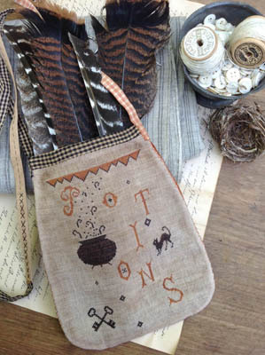 Stacy Nash Primitives - Potions Sewing Pouch-Stacy Nash Primitives - Potions Sewing Pouch, Halloween, cauldron, black cat, witch, cross stitch