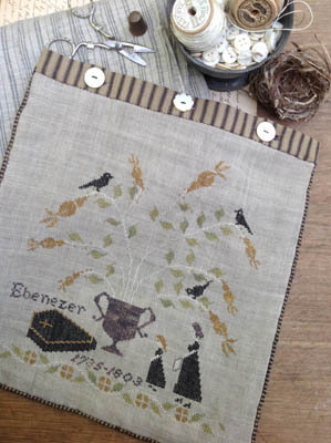 Stacy Nash Primitives - Mourning Tree Sewing Bag-Stacy Nash Primitives - Mourning Tree Sewing Bag, Halloween, crows, Ebenezer, coffin, cross stitch, primitive,
