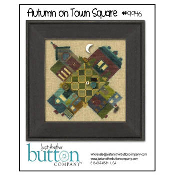 Just Another Button Company - Autumn On Town Square Btn Pk (w/free chart)-Just Another Button Company, Autumn On Town Square Btn Pk wfree chart, houses, neighborhood, fall, leaves,