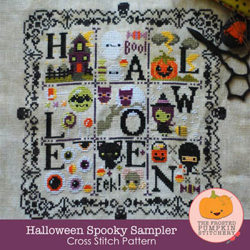 The Frosted Pumpkin Stitchery - Halloween Spooky Sampler-The Frosted Pumpkin Stitchery - Halloween Spooky Sampler, haloween, fall, trick or treat, ghosts, cross stitch, skulls,