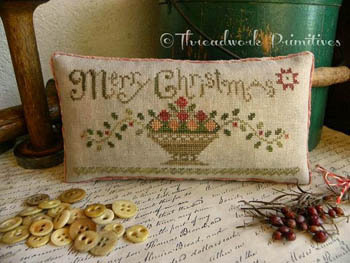Threadwork Primitives - Christmas Fruit Basket-Threadwork Primitives - Christmas Fruit Basket, Merry Christmas, pin cushion, cross stitch