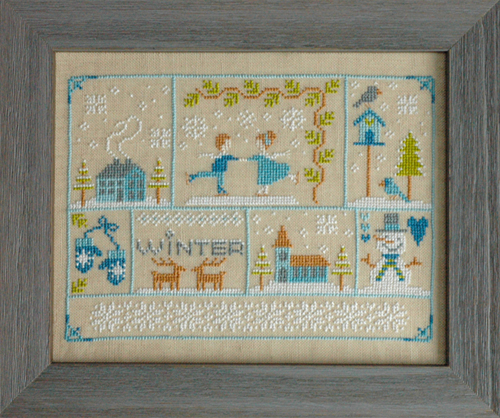 Tiny Modernist - Winter Wonderland - Cross Stitch Pattern-Tiny Modernist, Winter Wonderland, sampler, winter, snowman, ice skating, deer, mittens, Cross Stitch Pattern