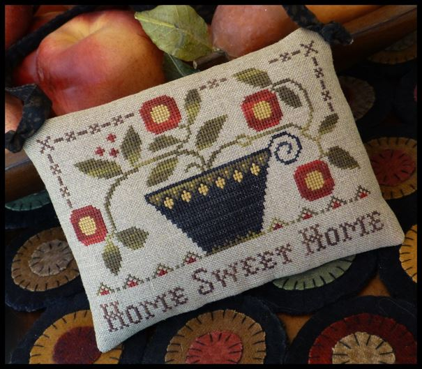 Little House Needleworks - Home Sweet Home-Little House Needleworks - Home Sweet Home, pin cushion, house, cherries, cross stitch,