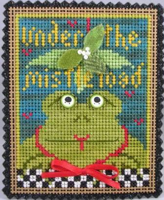 Val's Stuff - Under the Mistletoad-Vals Stuff - Under the Christmas, Halloween, frog, kisses, cross stitch