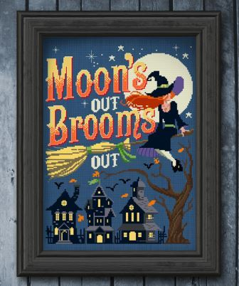 Autumn Lane Stitchery - Moons Out Brooms Out-Autumn Lane Stitchery - Moons Out Brooms Out, Halloween, witch, brooms, flying, trick or treat, cross stitch