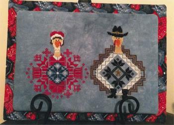 AuryTM - Bonnie and Clyde GobbleTrouble-AuryTM - Bonnie and Clyde GobbleTrouble, Thanksgiving, turkeys, Quaker, Fall, pilgrims, cross stitch