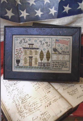 Chessie & Me - Tallman House 1864 Sampler-Chessie  Me - Tallman House 1864 Sampler, patriotic, primitive, American flag, American eagle,